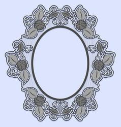 Oval lace frame on blue background black openwork vector