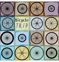 Pattern of bycicles wheels vector
