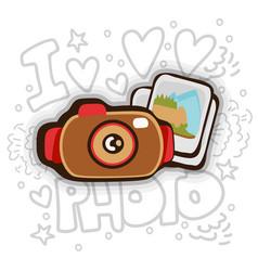 photo cartoon icon photo camera and photos vector image