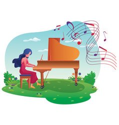 piano girl on meadow vector image