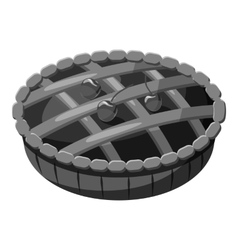 Pie with lattice top icon gray monochrome style vector image