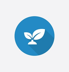 plant Flat Blue Simple Icon with long shadow vector image