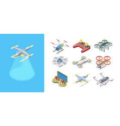 quadrocopters flying drones set robotic modern vector image