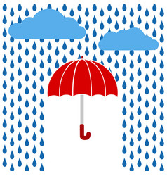 red umbrella under rain greeting card stock vector image