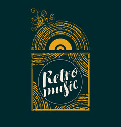 Retro music banner with vinyl record vector