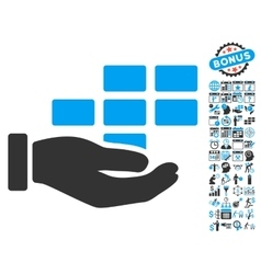 Schedule Service Hand Flat Icon With Bonus vector