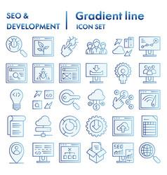 Seo and development flat icon set computing vector