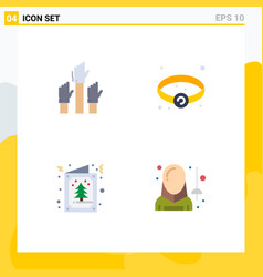 Set 4 flat icons on grid for aspiration card vector
