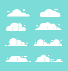 set clouds flat cartoon blue sky nature vector image