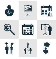 Set of 9 board icons includes project targets vector