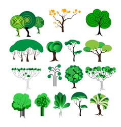 set of decorative tree vector image