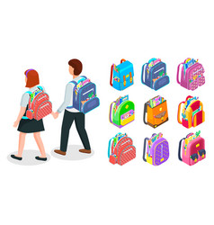 set school bags filled with supplies vector image