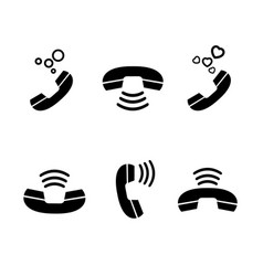 set vintage black handset and sign signal vector image