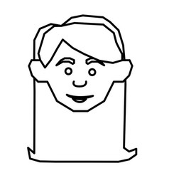 Silhouette face happy woman icon vector