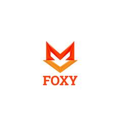 simple geometric fox shape logo sign symbol icon vector image