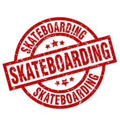 Skateboarding round red grunge stamp vector