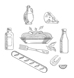Sketch of italian pasta and food vector