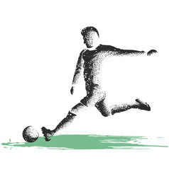soccer player kicking ball of sport vector image