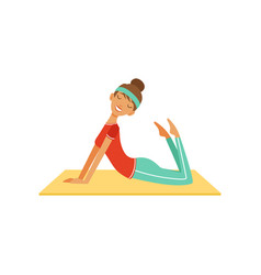 Sportive young woman character doing fitness vector