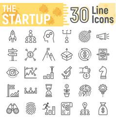 Startup line icon set development symbols vector