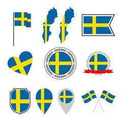sweden flag icons set national flag kingdom of vector image