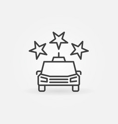 taxi car with stars concept outline icon vector image