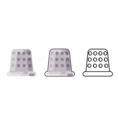 thimble finger guard craft tool sew cloth flat vector image