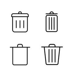 thin line trash bin icons vector image
