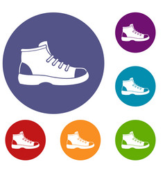 tourist shoe icons set vector image