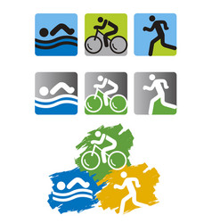 Triathlon race icons vector