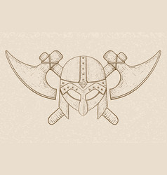 Viking helmet and crossed axes hand drawn sketch vector