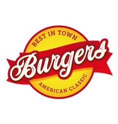 vintage burgers sign lettering stamp vector image