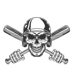 vintage skull in baseball helmet vector image