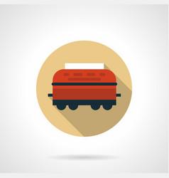 Wagon-refrigerator beige round icon vector