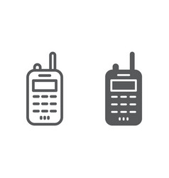 Walkie talkie line and glyph icon transmitter and vector