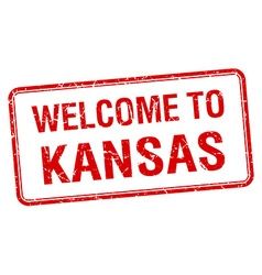 welcome to Kansas red grunge square stamp vector image