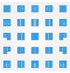 Window blue icons set vector