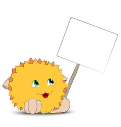 Yellow cartoon character holding a poster vector
