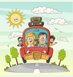 young family goes on vacation vector image
