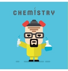 Chemist yellow suit with a respirator chemistry vector image