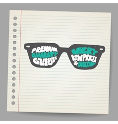 Doodle Glasses with premium quality sign vector image vector image