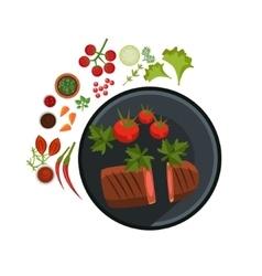 Medium Grilled Steak on Plate vector image vector image