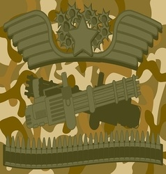 Military Logo Machine Gunner vector image