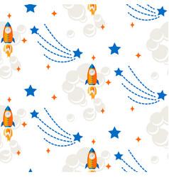 space rocket cartoon seamless pattern vector image vector image