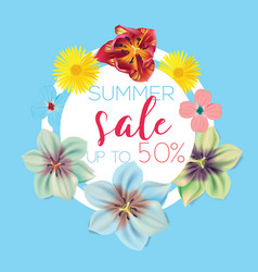 summer sale flower banner with text on blue vector image vector image