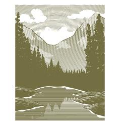 Woodcut wilderness river scene vector