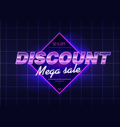 discount poster with cool design back to the 80s vector image