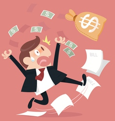Frightened about paying a lot of bill vector image