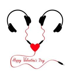 Happy Valentines Day Two headphones Earphones vector image