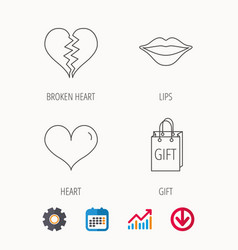 Love heart kiss lips and gift icons vector